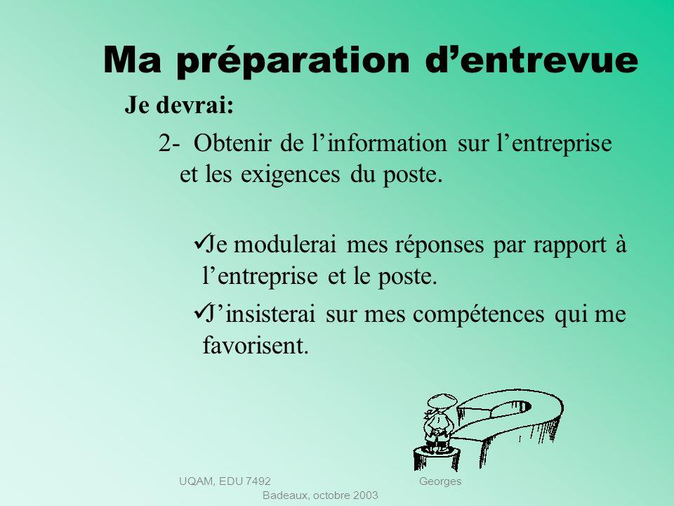 UQAM, EDU 7492 Georges Badeaux, octobre 2003 Ma préparation dentrevue Je devrai: 1-Élaborer mon plan de carrière et être en mesure de lexpliquer. Où j