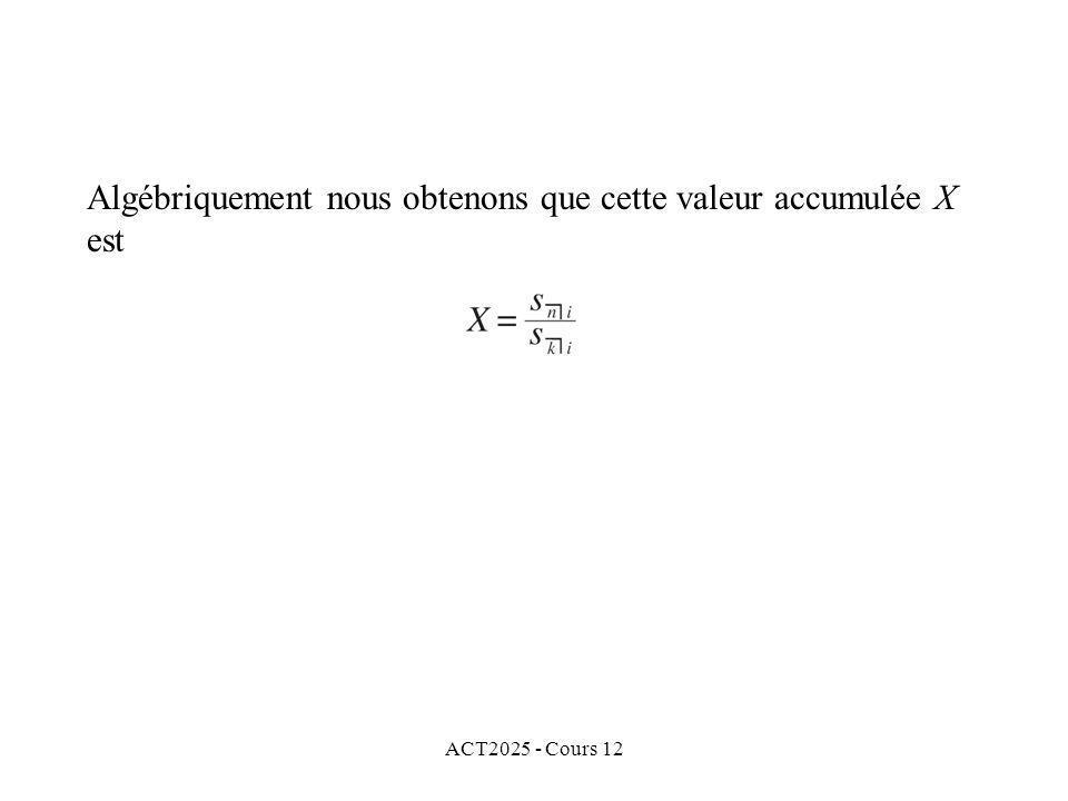 ACT2025 - Cours 12 Algébriquement nous obtenons que cette valeur accumulée X est