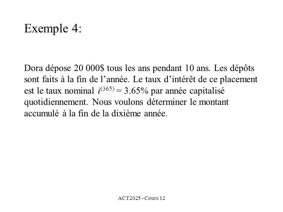 ACT2025 - Cours 12 Dora dépose 20 000$ tous les ans pendant 10 ans. Les dépôts sont faits à la fin de lannée. Le taux dintérêt de ce placement est le
