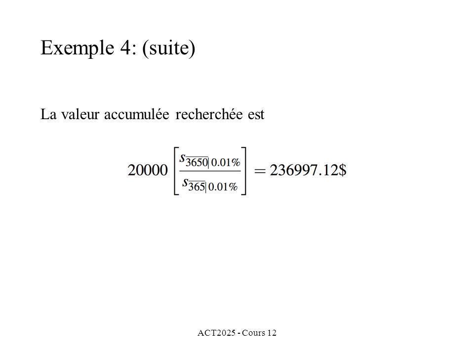 ACT2025 - Cours 12 La valeur accumulée recherchée est Exemple 4: (suite)