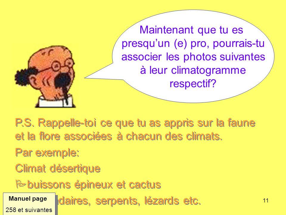 11 Maintenant que tu es presquun (e) pro, pourrais-tu associer les photos suivantes à leur climatogramme respectif? P.S. Rappelle-toi ce que tu as app