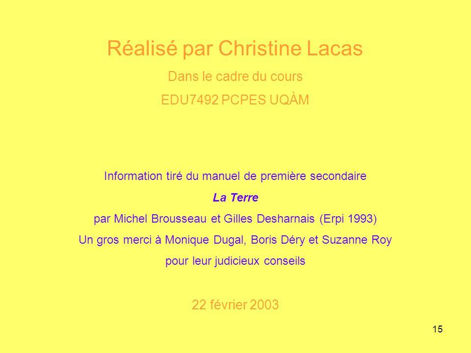 15 Réalisé par Christine Lacas Dans le cadre du cours EDU7492 PCPES UQÀM Information tiré du manuel de première secondaire La Terre par Michel Brousse