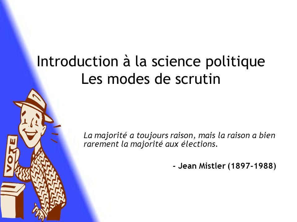 Introduction à la science politique Les modes de scrutin Par Nicolas Groulx 514-283-6517 poste 214 ngroulx@hotmail.com Cégep Rosemont Session H-10