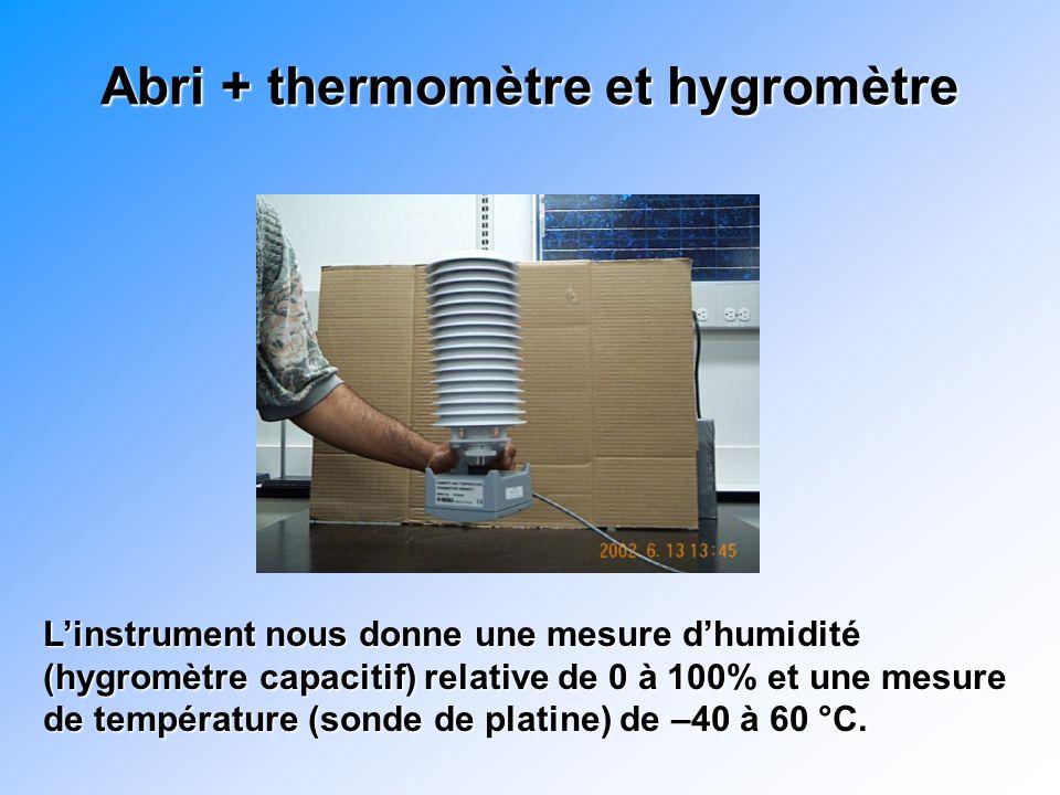 Abri + thermomètre et hygromètre Linstrument nous donne une mesure dhumidité (hygromètre capacitif) relative de 0 à 100% et une mesure de température (sonde de platine) de –40 à 60 °C.