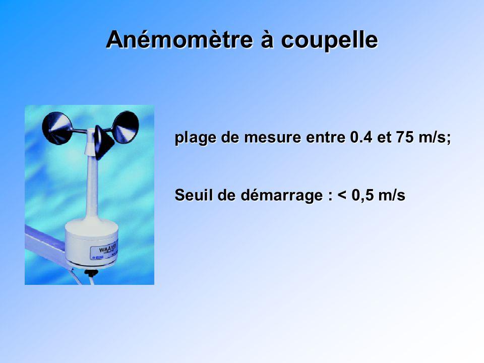 Anémomètre à coupelle plage de mesure entre 0.4 et 75 m/s; Seuil de démarrage : < 0,5 m/s