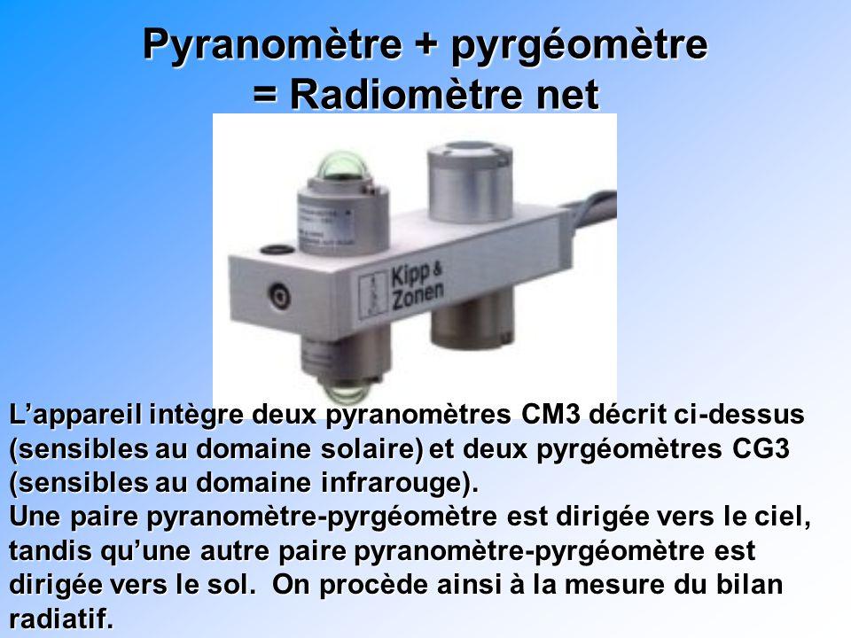 Pyranomètre + pyrgéomètre = Radiomètre net Lappareil intègre deux pyranomètres CM3 décrit ci-dessus (sensibles au domaine solaire) et deux pyrgéomètres CG3 (sensibles au domaine infrarouge).