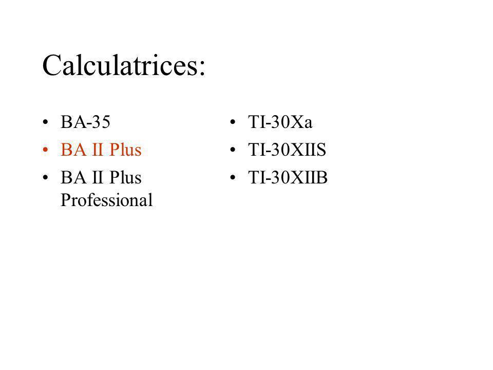 Calculatrices: BA-35 BA II Plus BA II Plus Professional TI-30Xa TI-30XIIS TI-30XIIB