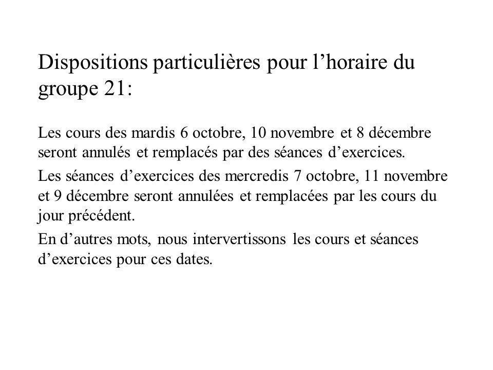 Dispositions particulières pour lhoraire du groupe 21: Les cours des mardis 6 octobre, 10 novembre et 8 décembre seront annulés et remplacés par des s