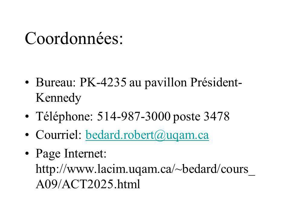 Coordonnées: Bureau: PK-4235 au pavillon Président- Kennedy Téléphone: 514-987-3000 poste 3478 Courriel: bedard.robert@uqam.cabedard.robert@uqam.ca Pa