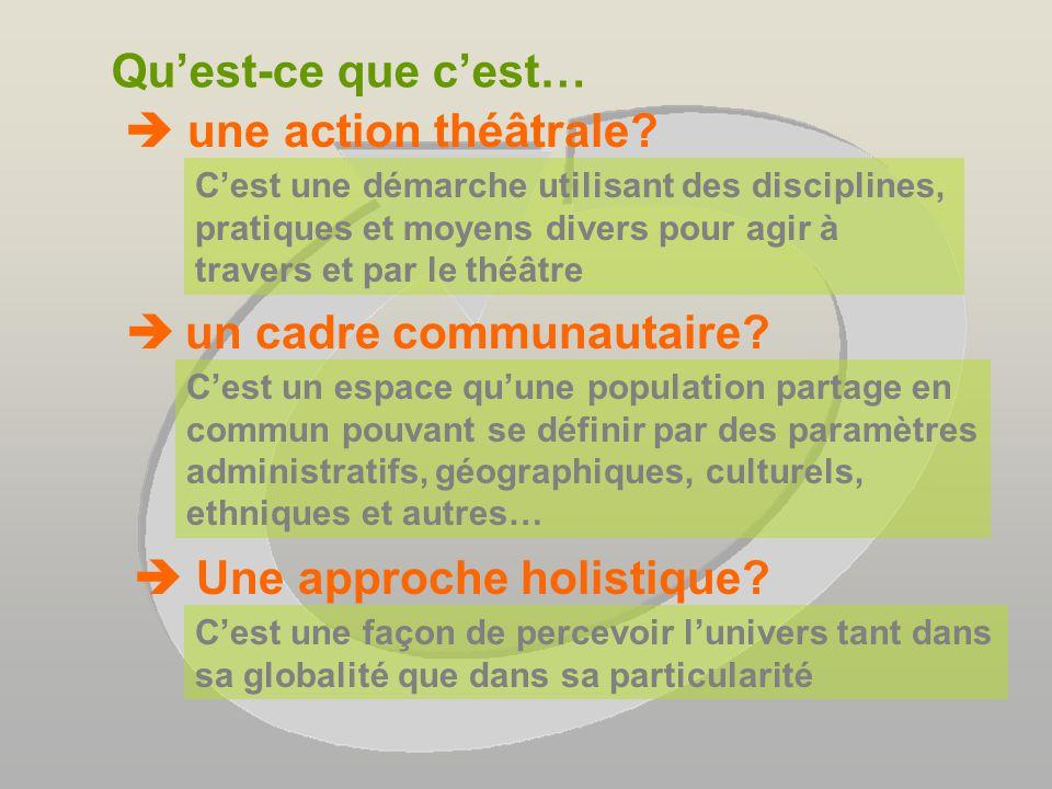 Réalisation dune action théâtrale adressée à un jeune public dans un cadre communautaire: une approche holistique
