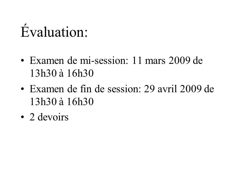 Évaluation: Examen de mi-session: 11 mars 2009 de 13h30 à 16h30 Examen de fin de session: 29 avril 2009 de 13h30 à 16h30 2 devoirs
