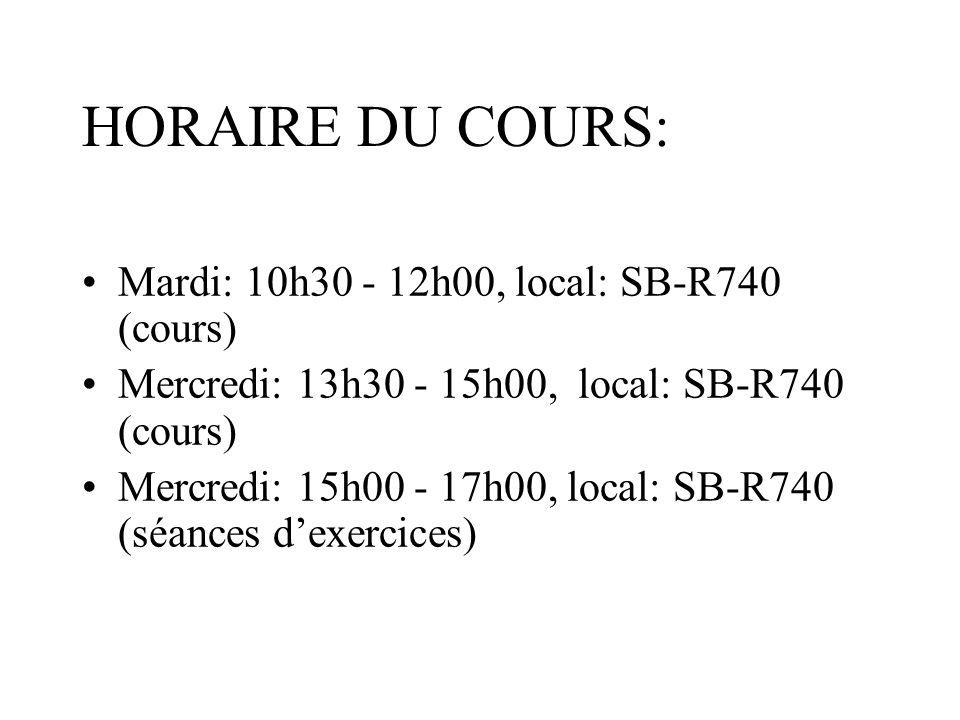 HORAIRE DU COURS: Mardi: 10h30 - 12h00, local: SB-R740 (cours) Mercredi: 13h30 - 15h00, local: SB-R740 (cours) Mercredi: 15h00 - 17h00, local: SB-R740 (séances dexercices)