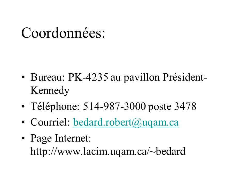 Coordonnées: Bureau: PK-4235 au pavillon Président- Kennedy Téléphone: 514-987-3000 poste 3478 Courriel: bedard.robert@uqam.cabedard.robert@uqam.ca Page Internet: http://www.lacim.uqam.ca/~bedard