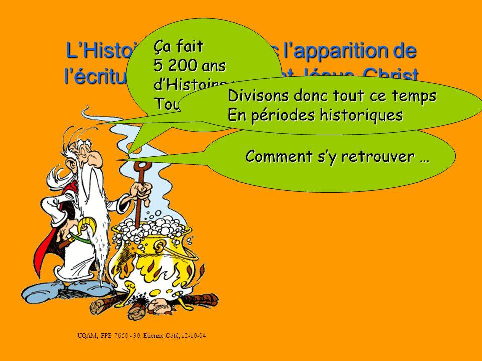 UQAM, FPE 7650 - 30, Étienne Côté, 12-10-04 LHistoire débute avec lapparition de lécriture en 3 200 avant Jésus-Christ Ça fait 5 200 ans dHistoire par Toutatis!!.