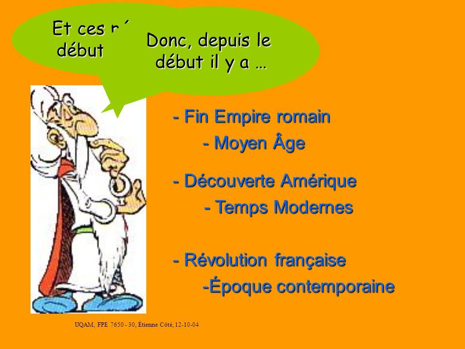 UQAM, FPE 7650 - 30, Étienne Côté, 12-10-04 Époque contemporaine : depuis 1789 - Démocratie - Révolution industrielle industrielle - Communisme - Guer