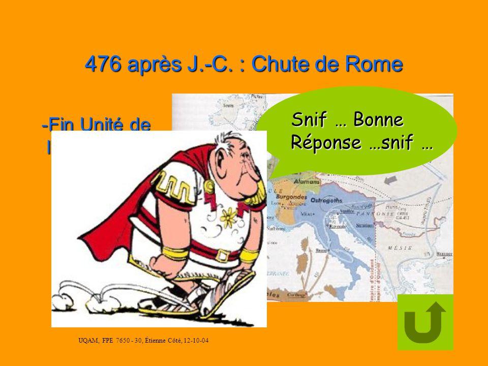 UQAM, FPE 7650 - 30, Étienne Côté, 12-10-04 395 après J.-C. : Empire Romain se divise en 2 Essayez encore … encore …