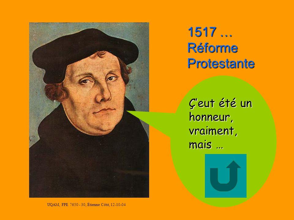 UQAM, FPE 7650 - 30, Étienne Côté, 12-10-04 1492 : Découverte de lAmérique Bonne Réponse !!! - Début Grandes découvertes - Europe va conquérir Monde -