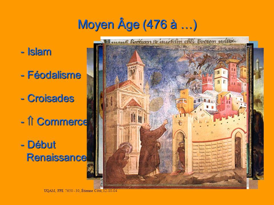 UQAM, FPE 7650 - 30, Étienne Côté, 12-10-04 Moyen Âge (476 à …) - Islam - Féodalisme - Croisades - Commerce - Début Renaissance