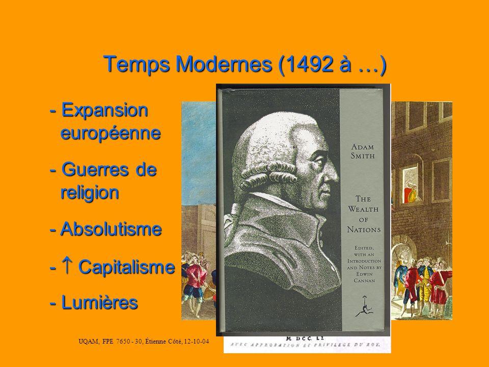 UQAM, FPE 7650 - 30, Étienne Côté, 12-10-04 Temps Modernes (1492 à …) - Guerres de religion religion - Absolutisme - Capitalisme - Lumières - Expansion européenne européenne