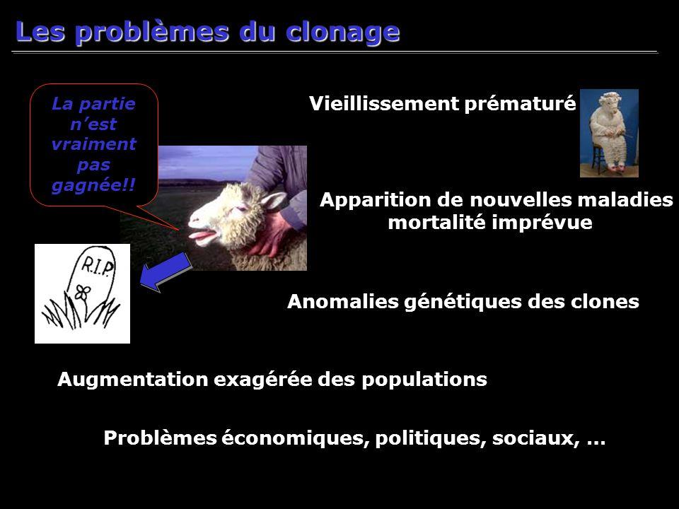 Les problèmes du clonage La partie nest vraiment pas gagnée!! Vieillissement prématuré Anomalies génétiques des clones Apparition de nouvelles maladie