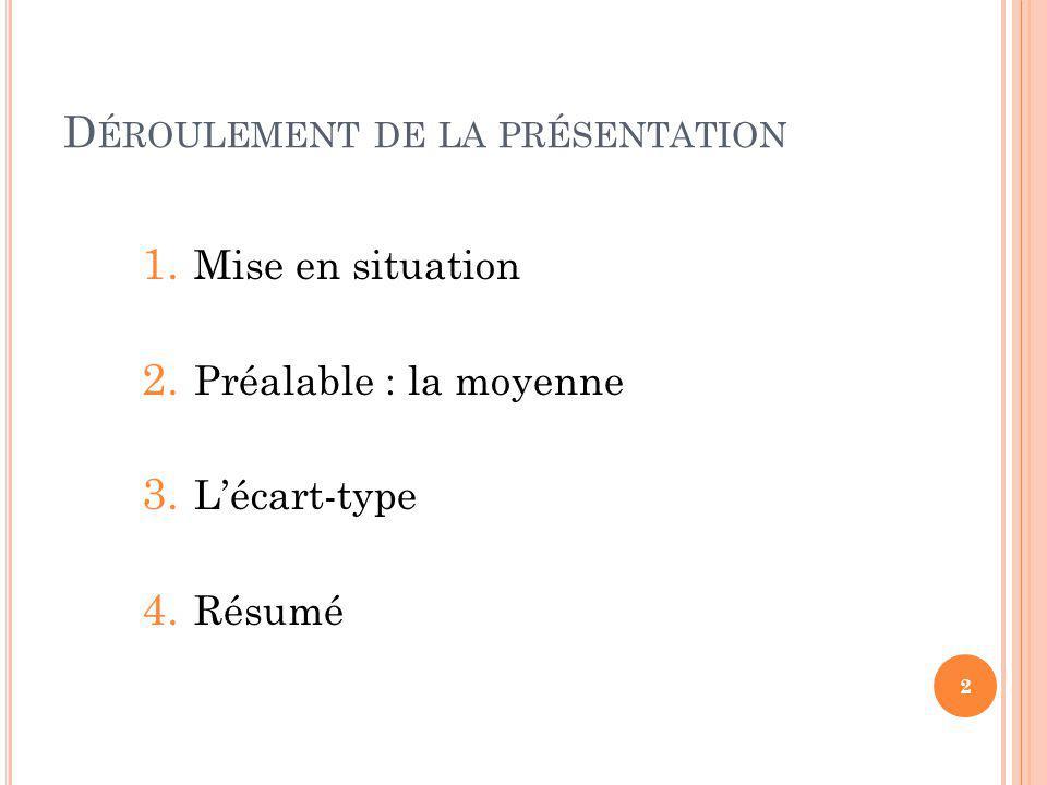 D ÉROULEMENT DE LA PRÉSENTATION 1. Mise en situation 2.