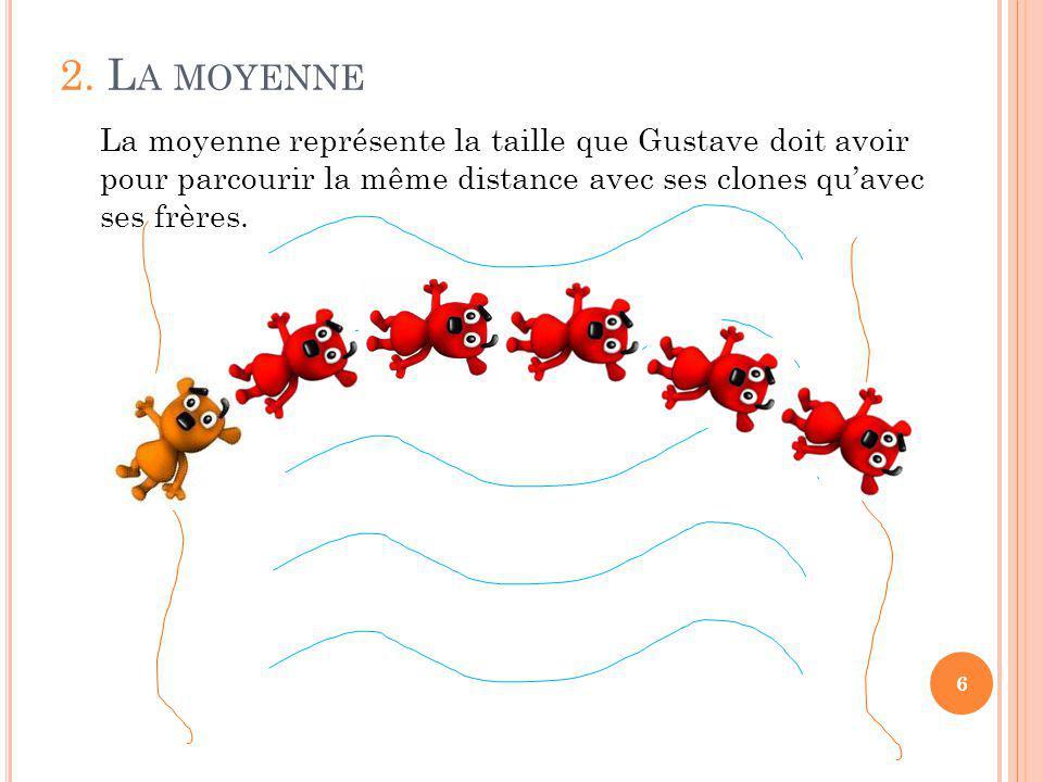 2. L A MOYENNE 6 La moyenne représente la taille que Gustave doit avoir pour parcourir la même distance avec ses clones quavec ses frères.