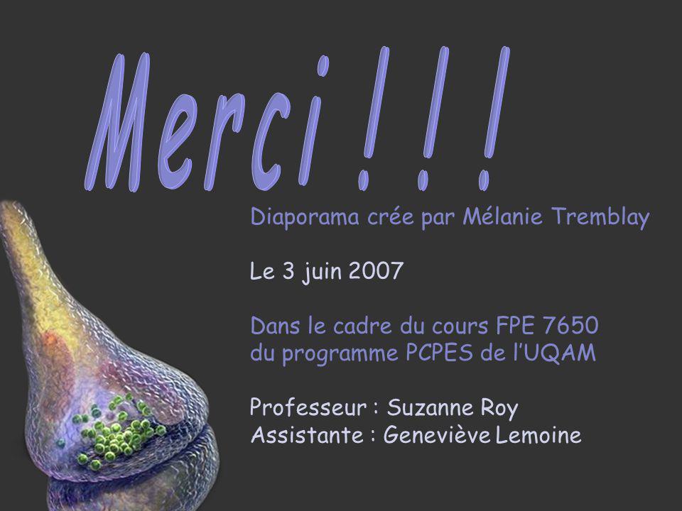 Diaporama crée par Mélanie Tremblay Le 3 juin 2007 Dans le cadre du cours FPE 7650 du programme PCPES de lUQAM Professeur : Suzanne Roy Assistante : G