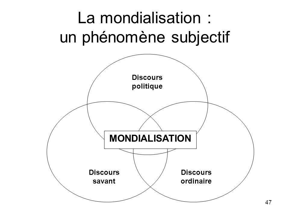 47 La mondialisation : un phénomène subjectif Discours politique Discours savant Discours ordinaire MONDIALISATION