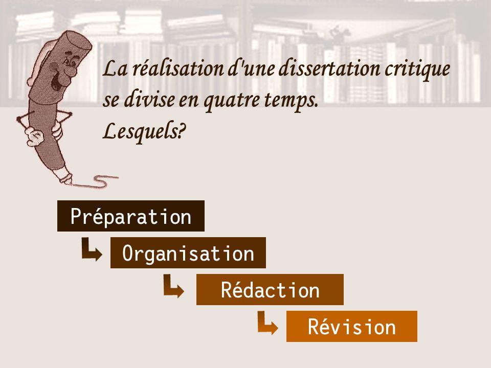 1 re étape Comprendre le sujet de la dissertation (vocabulaire, consigne) Préparation