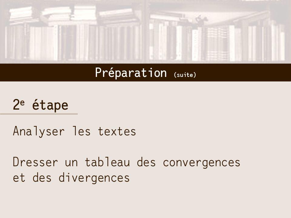 2 e étape Analyser les textes Dresser un tableau des convergences et des divergences Préparation (suite)
