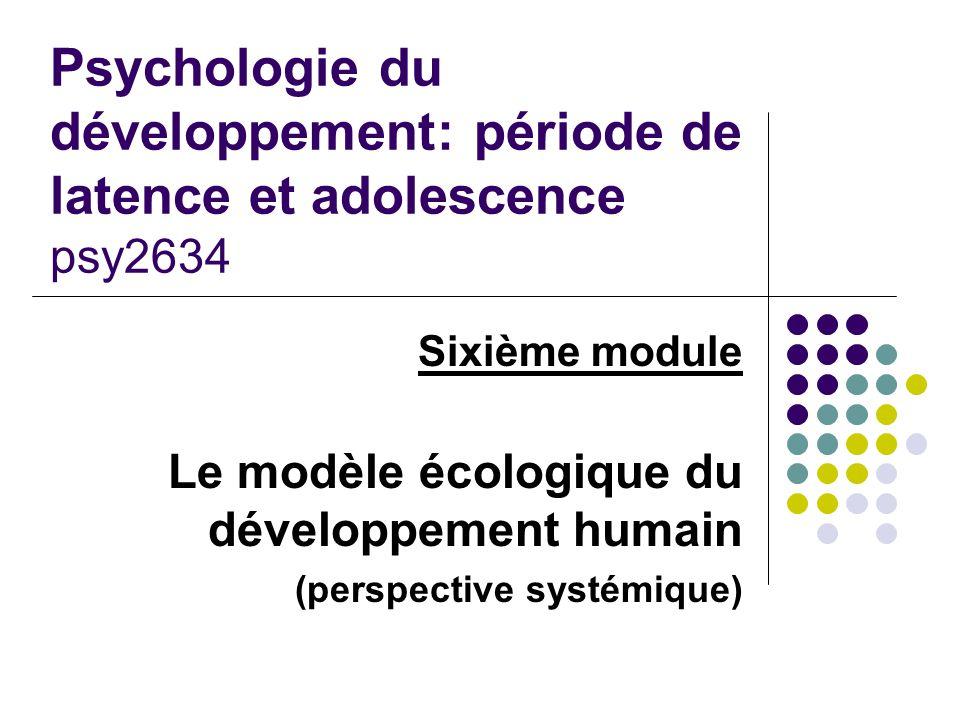 Psychologie du développement: période de latence et adolescence psy2634 Sixième module Le modèle écologique du développement humain (perspective systé