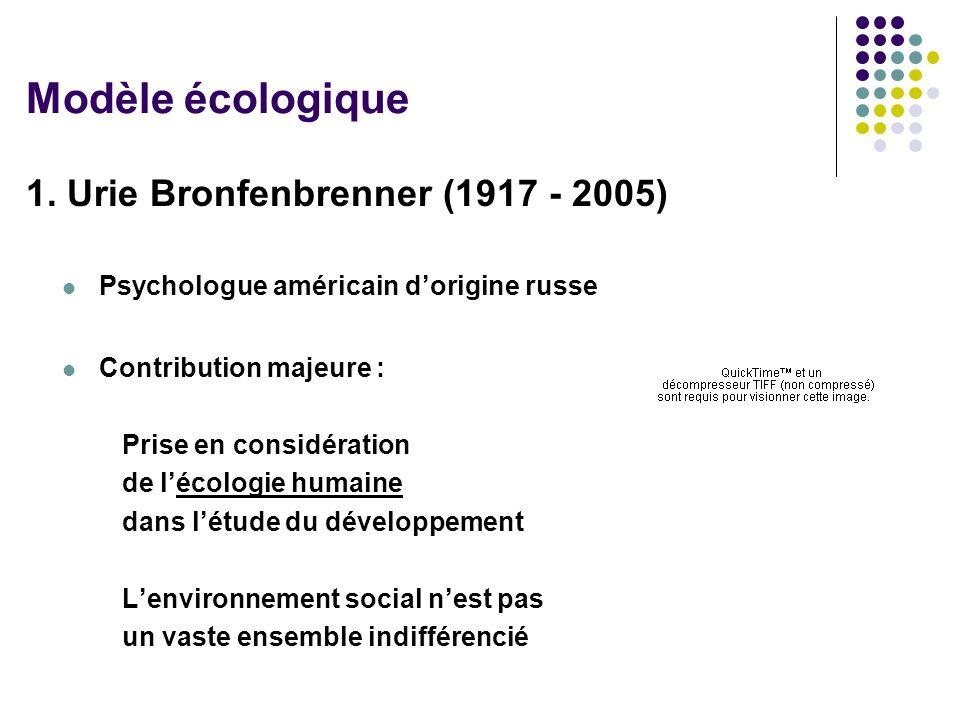 1. Urie Bronfenbrenner (1917 - 2005) Psychologue américain dorigine russe Contribution majeure : Prise en considération de lécologie humaine dans létu