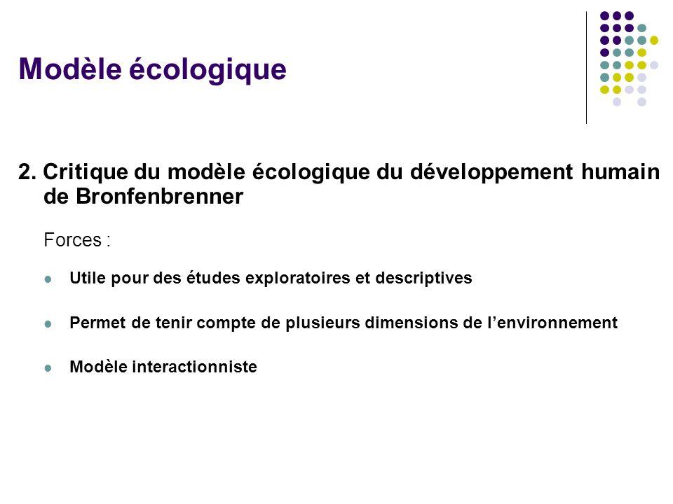 2. Critique du modèle écologique du développement humain de Bronfenbrenner Forces : Utile pour des études exploratoires et descriptives Permet de teni