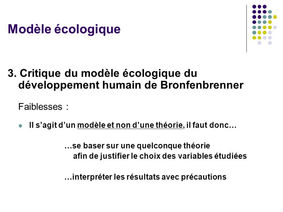 3. Critique du modèle écologique du développement humain de Bronfenbrenner Faiblesses : Il sagit dun modèle et non dune théorie, il faut donc… …se bas