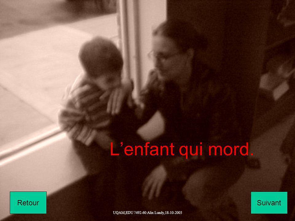 UQAM,EDU 7492-60:Alix Lundy,18-10-2003 Lenfant qui mord. SuivantRetour