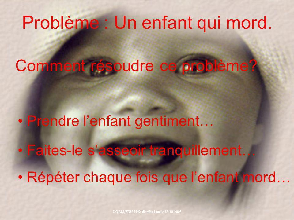 UQAM,EDU 7492-60:Alix Lundy,18-10-2003 Problème : Un enfant qui mord. Comment résoudre ce problème? Prendre lenfant gentiment… Faites-le sasseoir tran