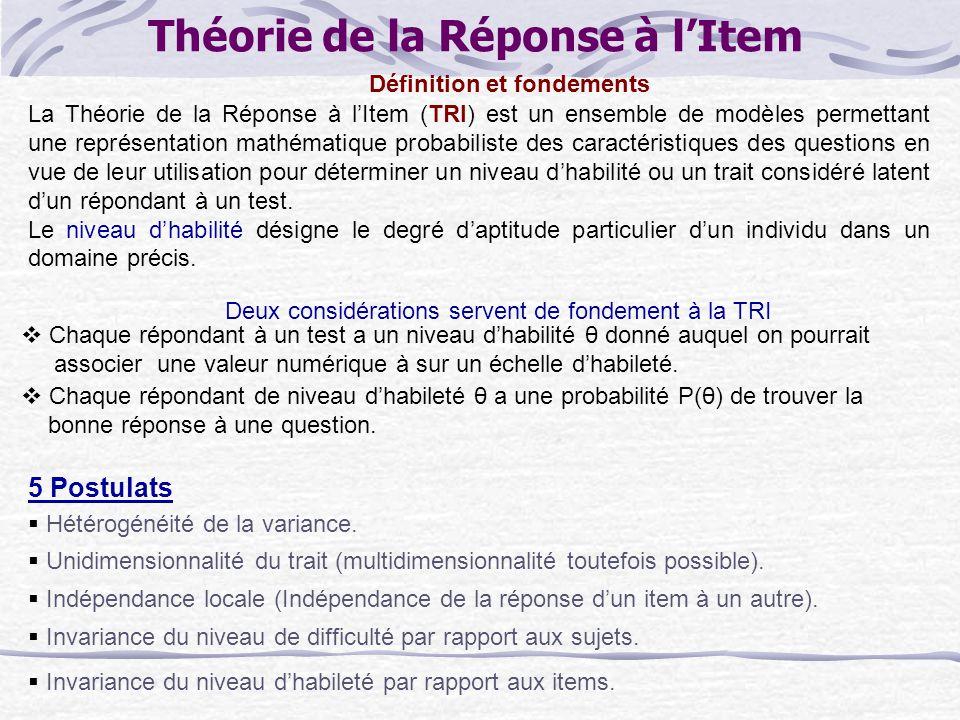 Théorie de la Réponse à lItem La Théorie de la Réponse à lItem (TRI) est un ensemble de modèles permettant une représentation mathématique probabiliste des caractéristiques des questions en vue de leur utilisation pour déterminer un niveau dhabilité ou un trait considéré latent dun répondant à un test.