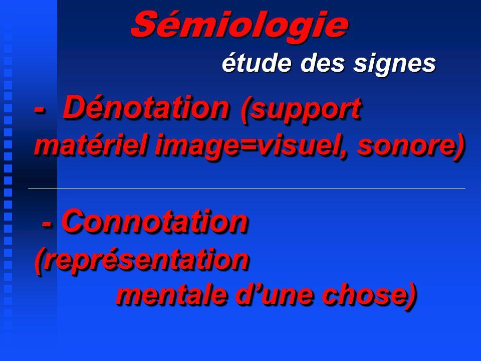 - Dénotation (support matériel image=visuel, sonore) - Connotation (représentation mentale dune chose) Sémiologie étude des signes étude des signes