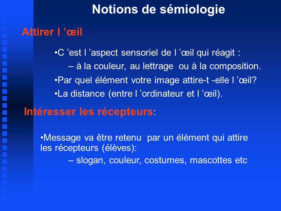 Notions de sémiologie Attirer l œil C est l aspect sensoriel de l œil qui réagit : – à la couleur, au lettrage ou à la composition.