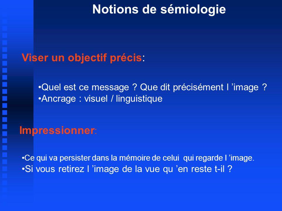 Notions de sémiologie Impressionner : Ce qui va persister dans la mémoire de celui qui regarde l image.