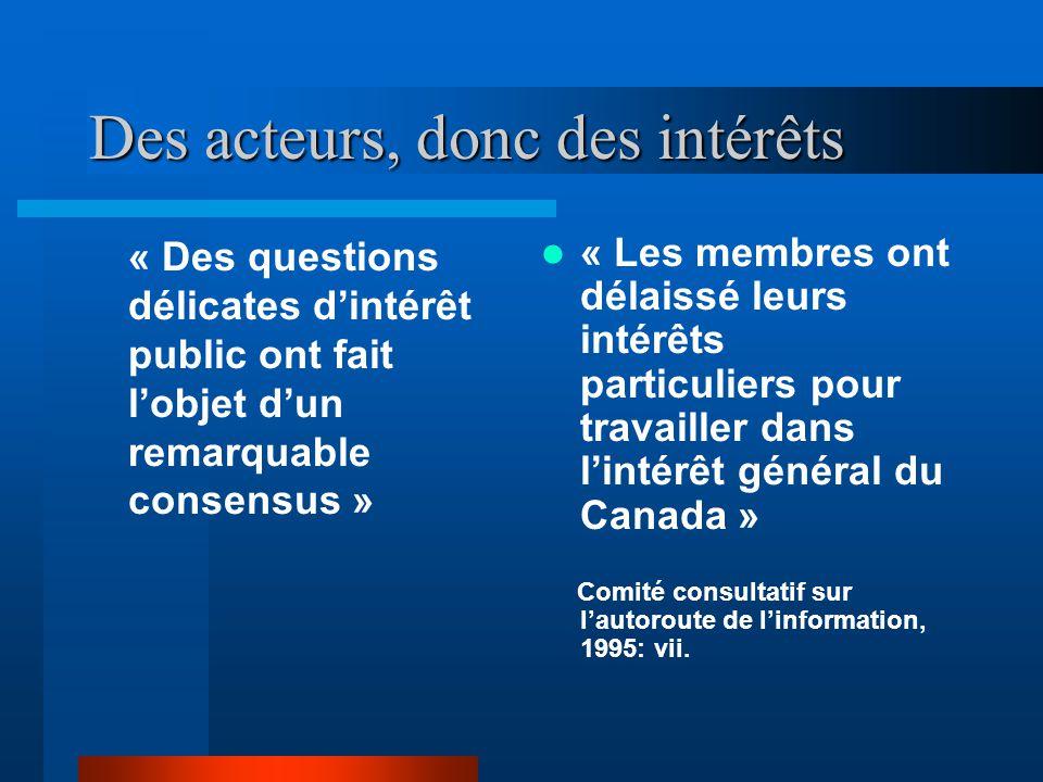 Des acteurs, donc des intérêts « Des questions délicates dintérêt public ont fait lobjet dun remarquable consensus » « Les membres ont délaissé leurs intérêts particuliers pour travailler dans lintérêt général du Canada » Comité consultatif sur lautoroute de linformation, 1995: vii.