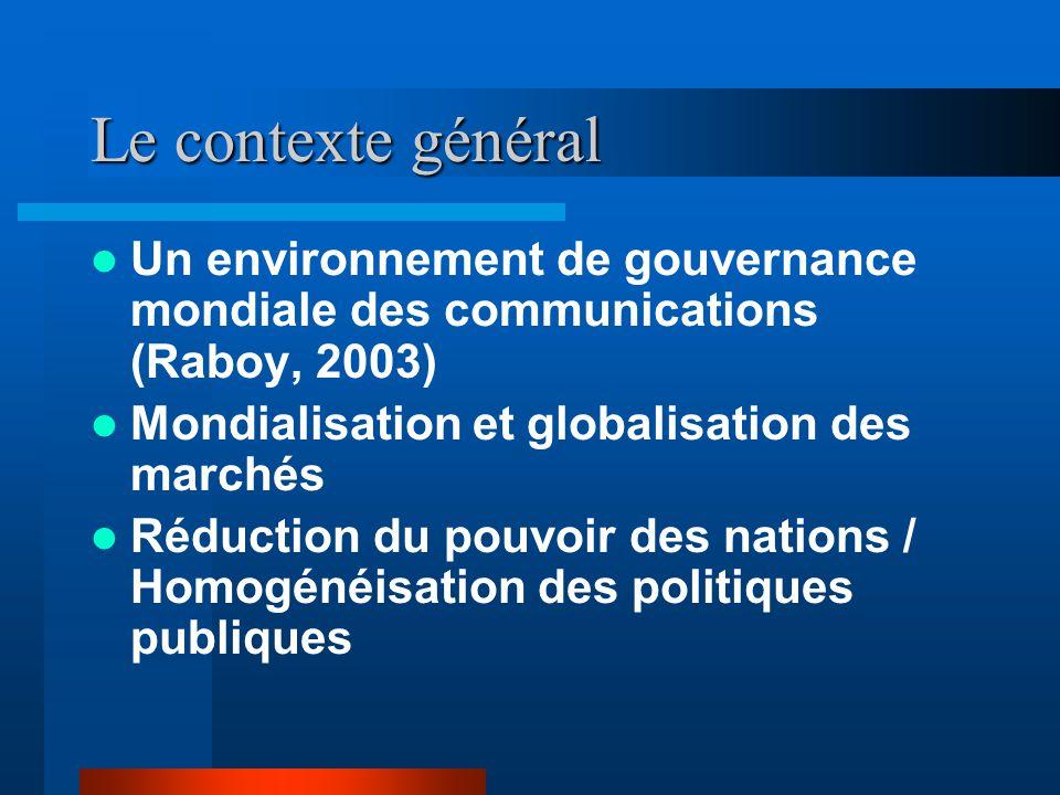 Le contexte général Un environnement de gouvernance mondiale des communications (Raboy, 2003) Mondialisation et globalisation des marchés Réduction du pouvoir des nations / Homogénéisation des politiques publiques