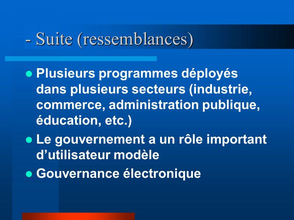 - Suite (ressemblances) Plusieurs programmes déployés dans plusieurs secteurs (industrie, commerce, administration publique, éducation, etc.) Le gouvernement a un rôle important dutilisateur modèle Gouvernance électronique