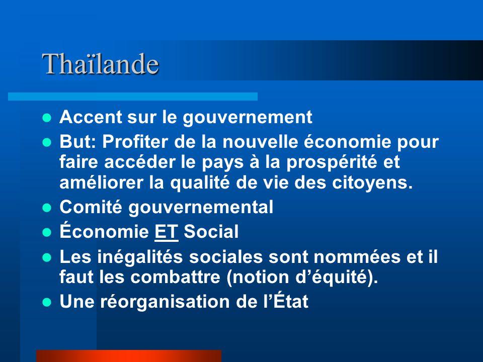 Thaïlande Accent sur le gouvernement But: Profiter de la nouvelle économie pour faire accéder le pays à la prospérité et améliorer la qualité de vie des citoyens.