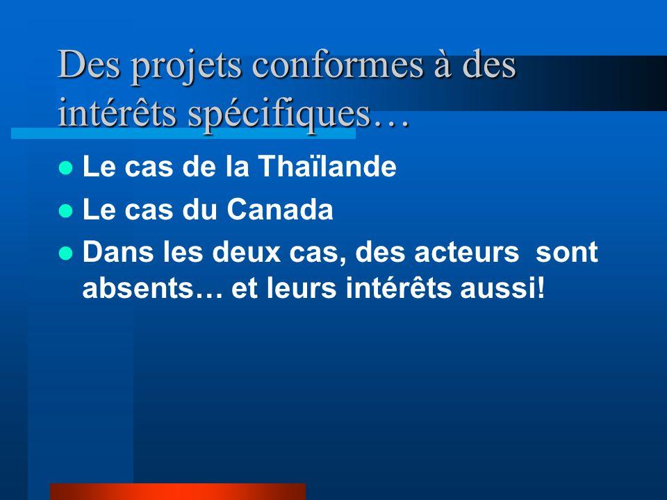 Des projets conformes à des intérêts spécifiques… Le cas de la Thaïlande Le cas du Canada Dans les deux cas, des acteurs sont absents… et leurs intérêts aussi!