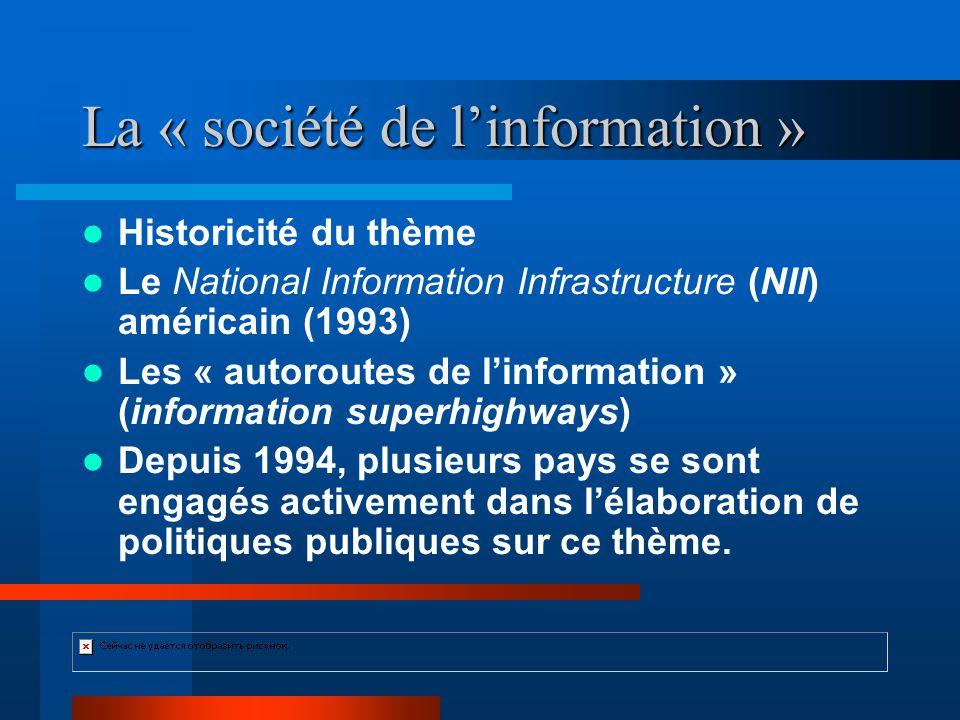 La « société de linformation » Historicité du thème Le National Information Infrastructure (NII) américain (1993) Les « autoroutes de linformation » (information superhighways) Depuis 1994, plusieurs pays se sont engagés activement dans lélaboration de politiques publiques sur ce thème.