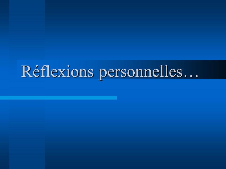 Réflexions personnelles…