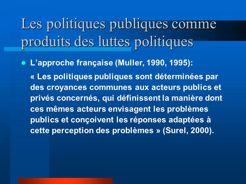 Les politiques publiques comme produits des luttes politiques Lapproche française (Muller, 1990, 1995): « Les politiques publiques sont déterminées par des croyances communes aux acteurs publics et privés concernés, qui définissent la manière dont ces mêmes acteurs envisagent les problèmes publics et conçoivent les réponses adaptées à cette perception des problèmes » (Surel, 2000).