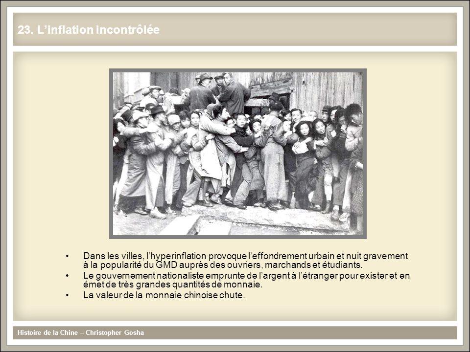 Dans les villes, lhyperinflation provoque leffondrement urbain et nuit gravement à la popularité du GMD auprès des ouvriers, marchands et étudiants. L