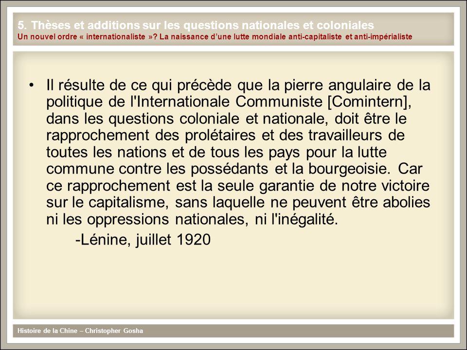 Il résulte de ce qui précède que la pierre angulaire de la politique de l'Internationale Communiste [Comintern], dans les questions coloniale et natio